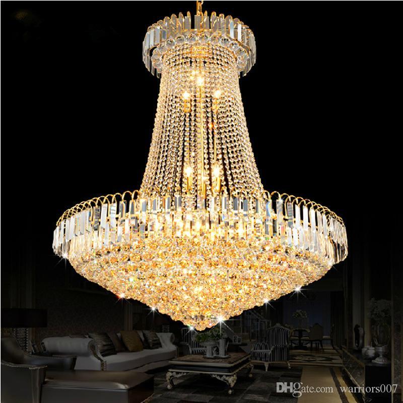 الفاخرة الذهبي كريستال الثريا ضوء درج ضوء أدى فلوش الثريا لماعة دي كريستيس بريق كريستال قطر 40 60 80 سنتيمتر
