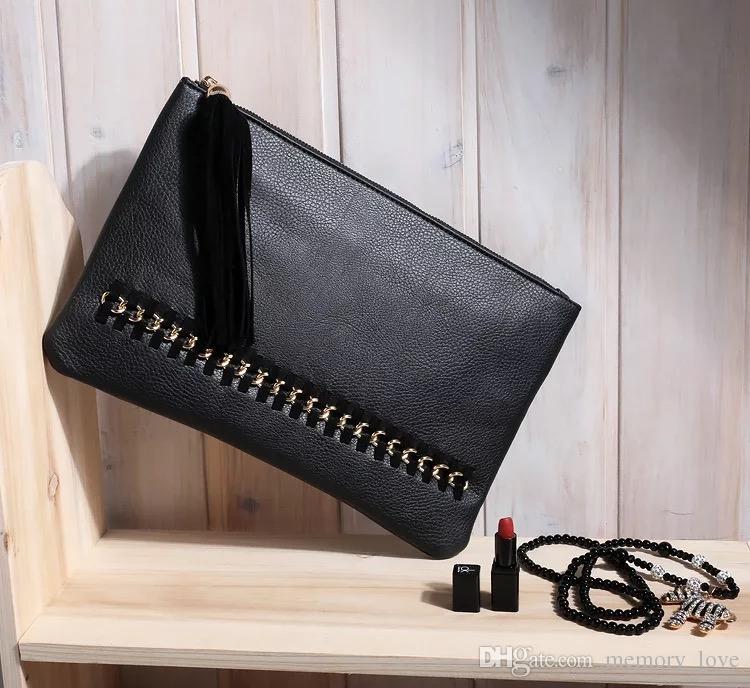 Rivet tassel envelope bag Hot sale Personalized rivet tassel Clutch bag Cheap Pu leather Ladies Tassels Zip Cute Handbag