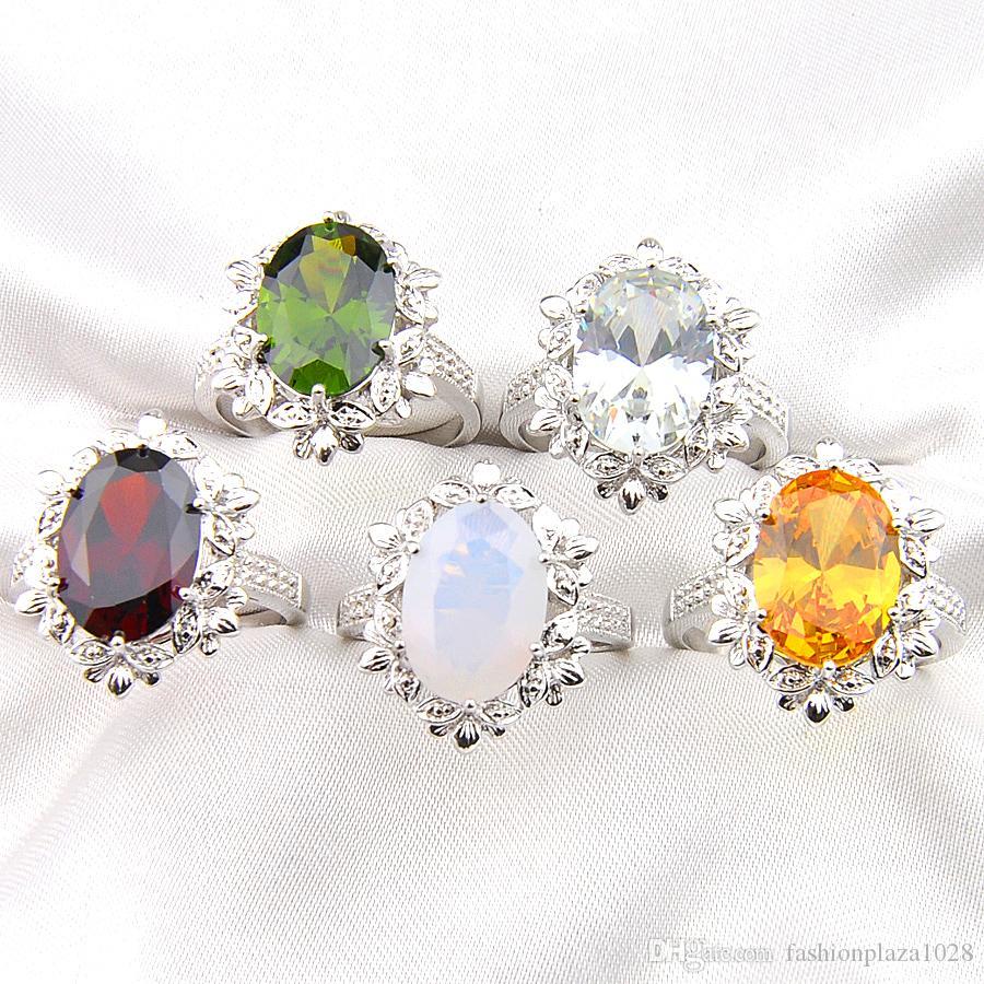 LuckyShne Una varietà di colori 5 PCS Lotto Bulk prezzo regalo di natale 925 argento sterling ovale rosso / verde / bianco / giallo moda anello di moda