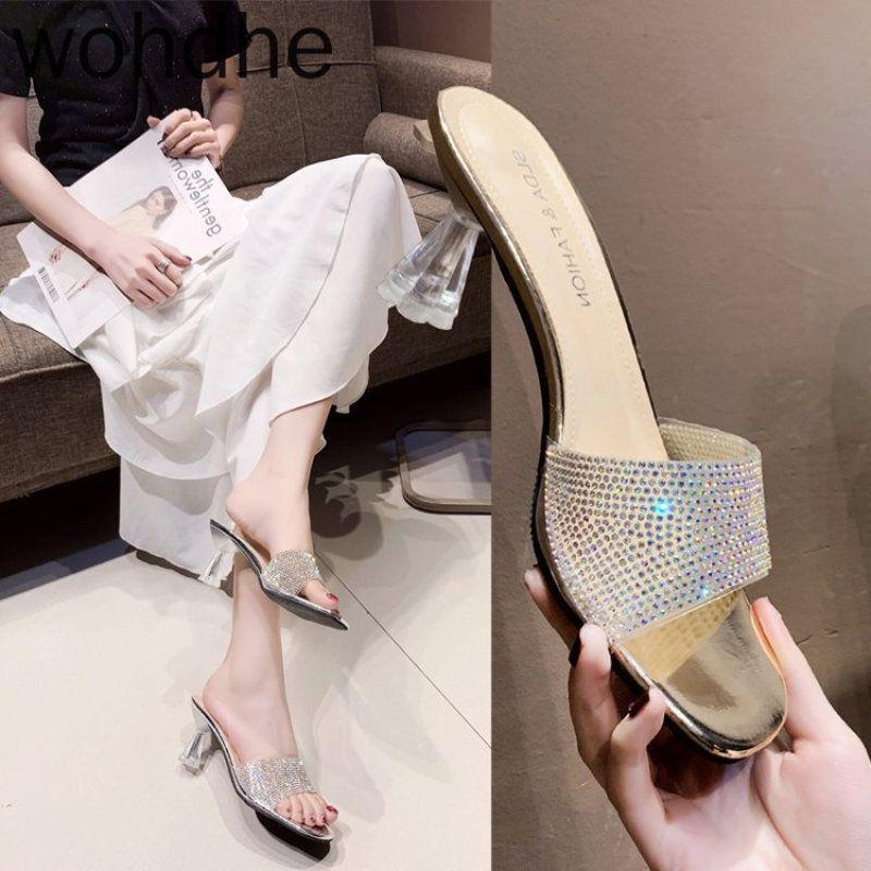 Nuovo Nudo diamante superiore Donne Piazza Pantofole Toe Cancella Tacchi alti Donne trasparente Flip Flop Slippers Esterni Casa