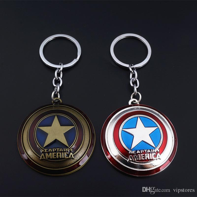 Capitan America The Avenger Super Hero Captain America Scudo ciondolo in metallo portachiavi accessori per portachiavi gioielli per bambini