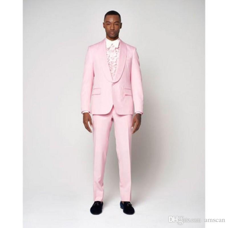 Moda Light Pink Men Suit Jacket Tuxedo Slim Fit 2 Piezas (Blazer + Pantalones) Wedding Men Trajes Prom Party Blazer YM