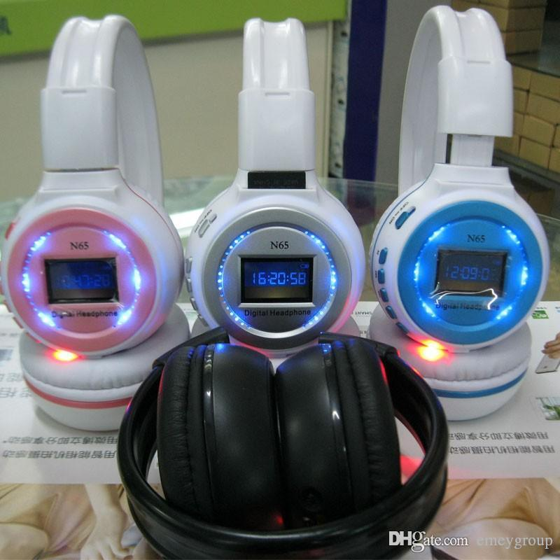 Professional Wireless Bluetooth Headphone N65 with LCD screen support Micro SD card music Recharging Headband Earphone