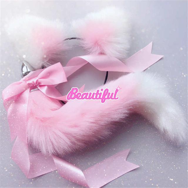 Симпатичные мягкие кошка Fox аксессуары металлические уши штекер лук повязки приклада анальный хвост для игрушек с взрослых косплей секс эротические пары Y200421 TBBFC