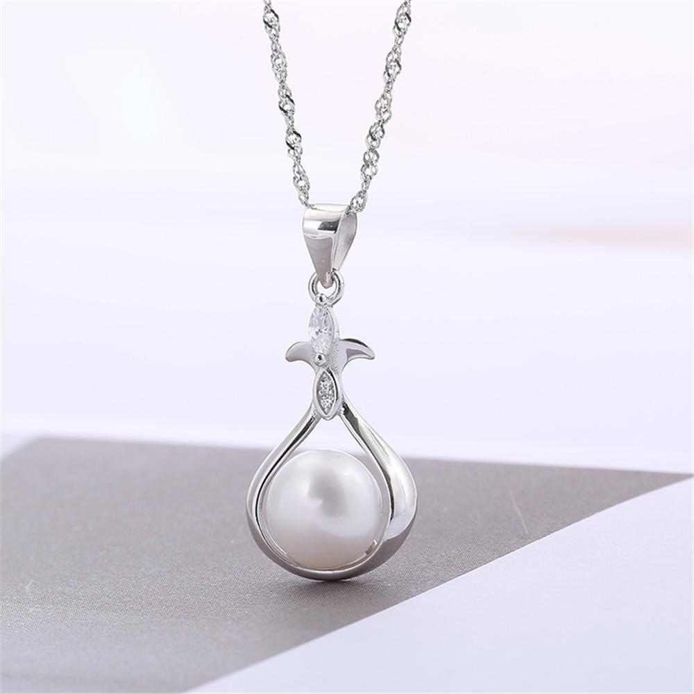 Moda S925 100% Katı Gümüş Inci Kolye Kolye Ayarları Montaj Yarı Dağı kadın DIY Takı Bulma Hediye DZ076