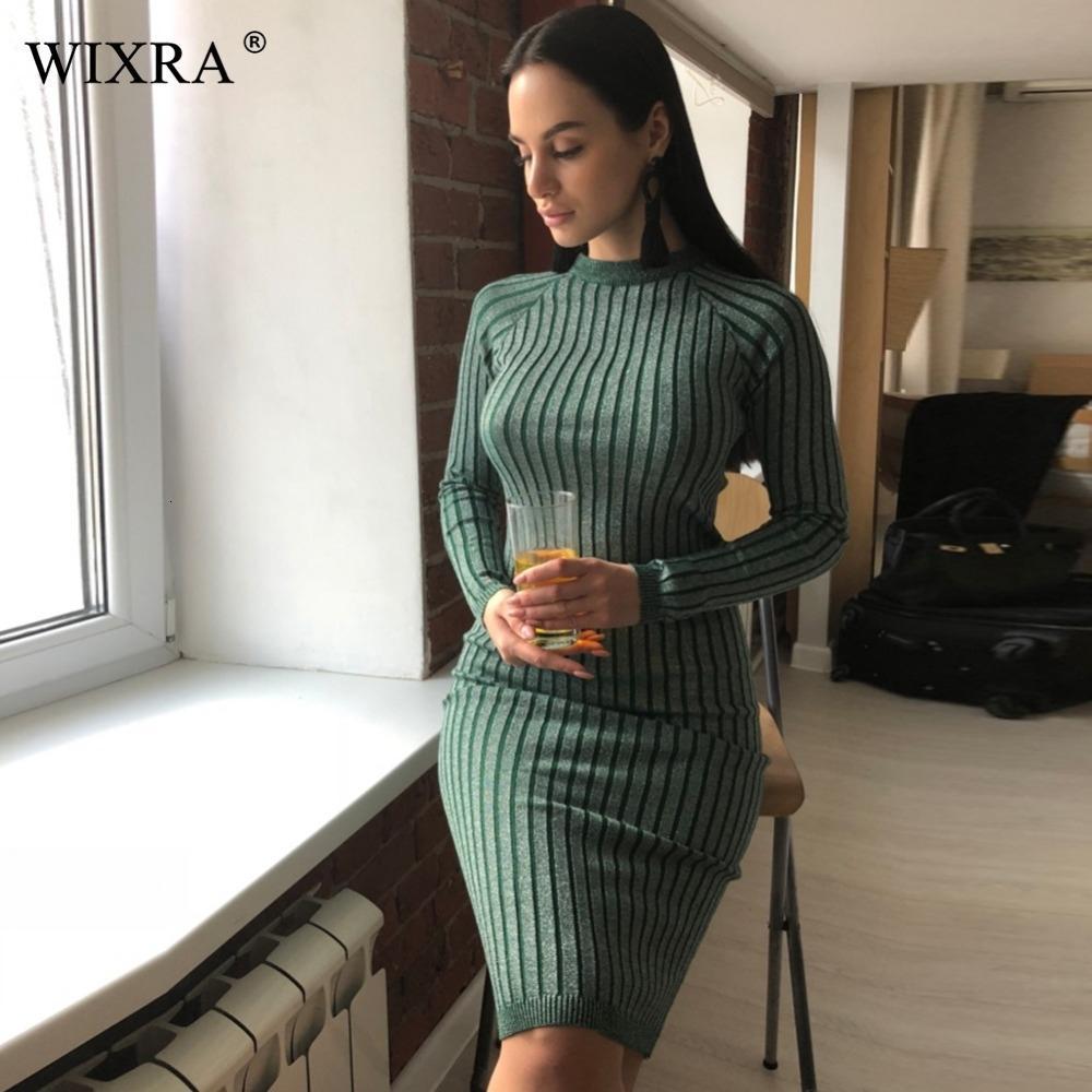 Wixra chaleureuse et le charme des femmes Robe pull 2017 Automne Hiver long Sexy Lurex moulante Robes élastique rayée Skinny Robe en maille LY191116