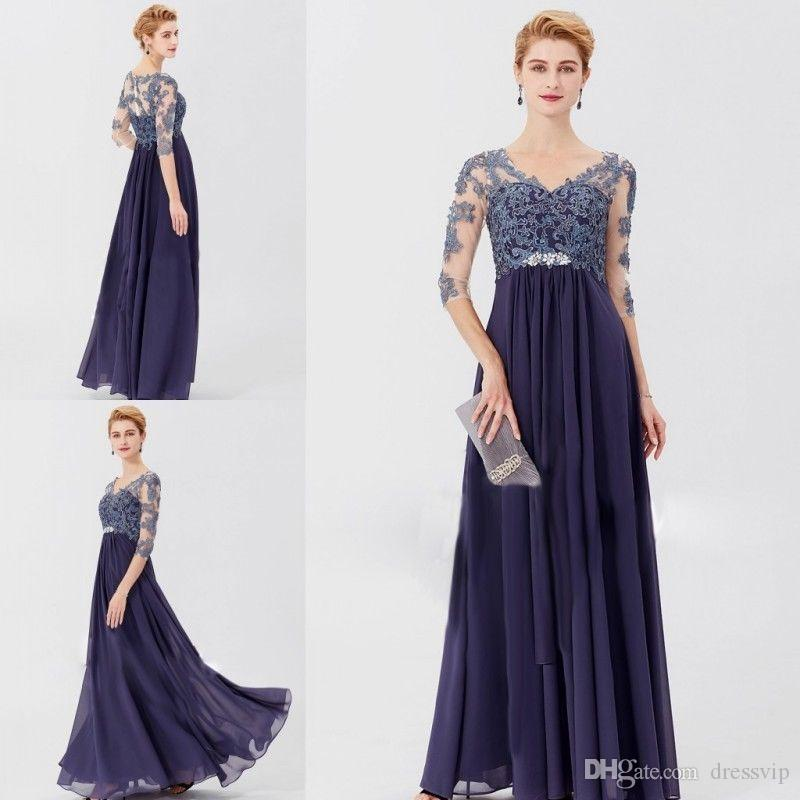 Lace Mother Of The Bride Dresses Long Chiffon A Line V Neck Lace Appliques Elegant Evening Dresses 2019 Formal Party Gowns