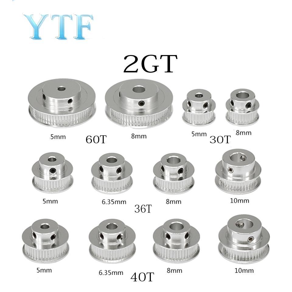 저렴한 3D 프린터 부품 액세서리 GT2 타이밍 풀리 (30) (36) (40) (60) 치아 2GT 휠 부품 튜브 5mm 8mm의 알루미늄 기어