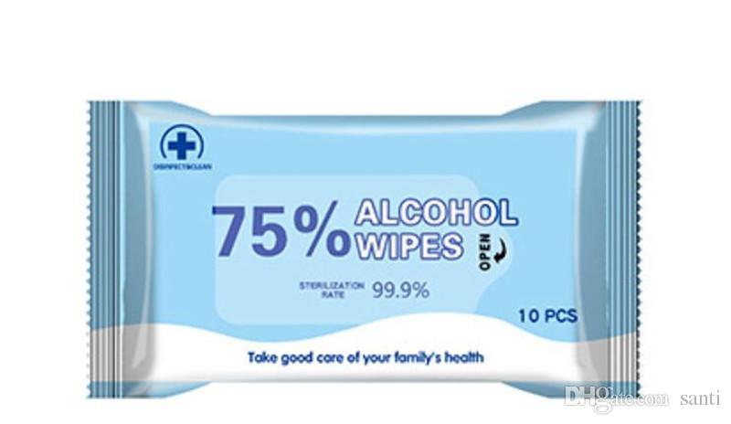 Novo protetor 10pcs / bag pessoais desinfecção portátil de 75% de álcool Cotonetes Pads toalhetes anti-sépticos Cleanser Limpeza Esterilização Saúde Início