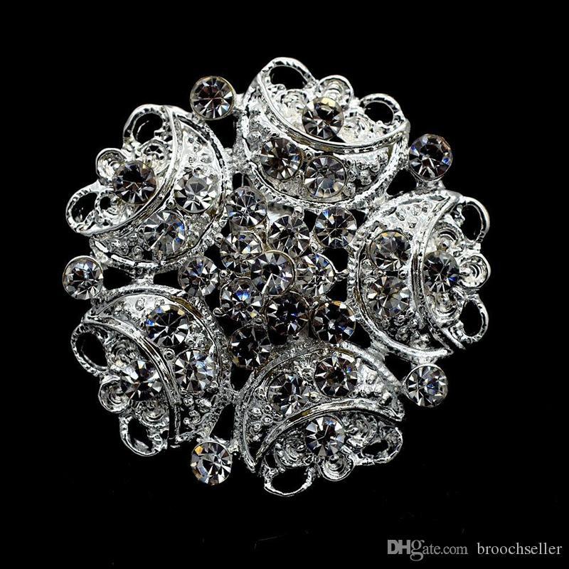 """1.3 """"반짝 이는 실버 톤 전체 라인 석 크리스탈 Diamante 작은 꽃 브로치 웨딩 파티 파티 코사지 및 핀"""