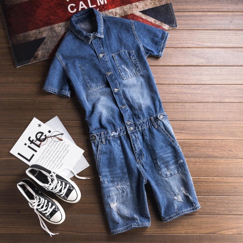 Streetwear Denim Lätzchen Insgesamt Shorts Männer Waschen Jeans Jumpsuit Buchstaben gedruckt lässig Kurzhülse Hosenträger Kurze Hosen