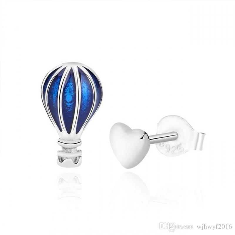 New Authentic 100% 925 Sterling Silver Blue Enamel Hot Air Balloon And Love Earrings Diy Women Jewelry For Women Female Gift