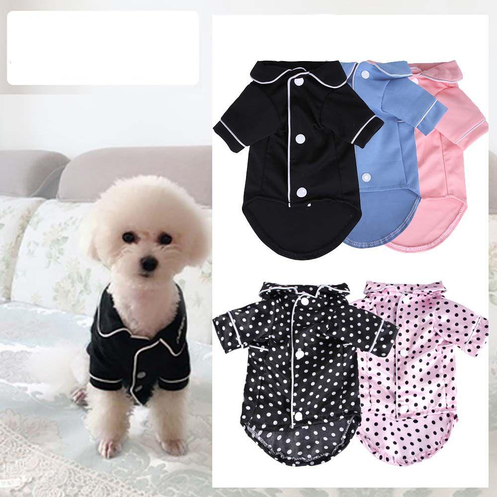Küçük Köpek Moda Fransız Çift Pijama Pembe Kızlar Foodle Bichon Teddy Giysileri Siyah Mavi Boy Softfeeling Gömlek