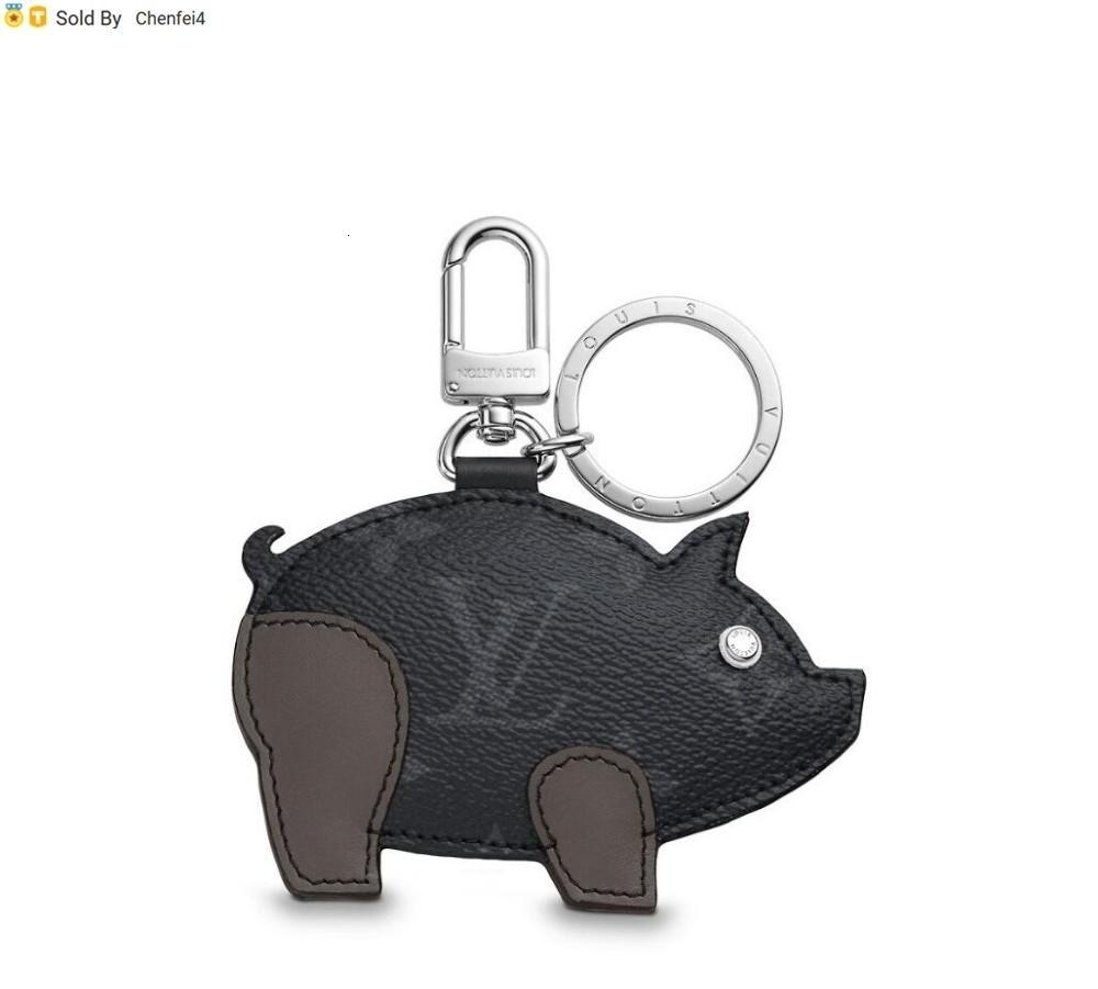 chenfei4 H09I MP1994 PIG BAG AND KEYCHAIN gray key Holders and More Leather Bracelets Chromatic Bag Charm and Key Holder Scarves Belts