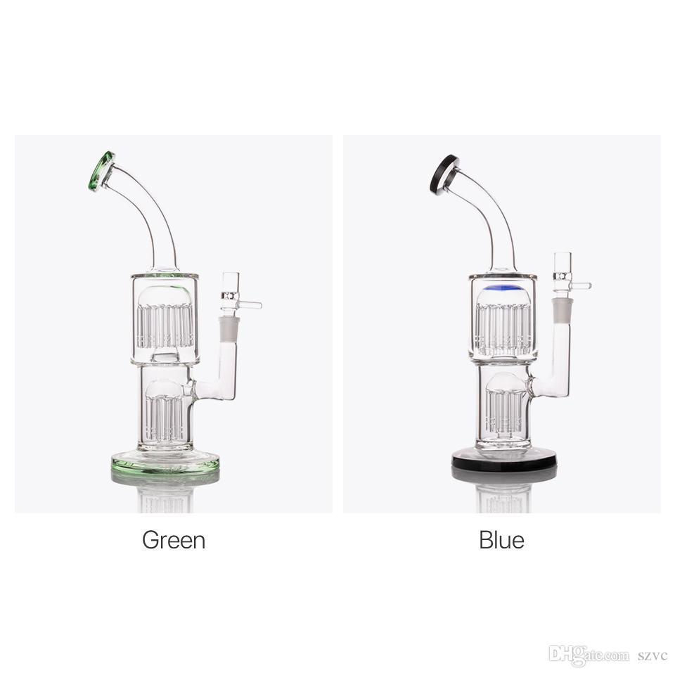 11-Zoll-Blau TORO Starke Glasbong Beruhigende Bohrinseln Glasbongs Wasserpfeifen Recycler Klopfen Dampfbrenner