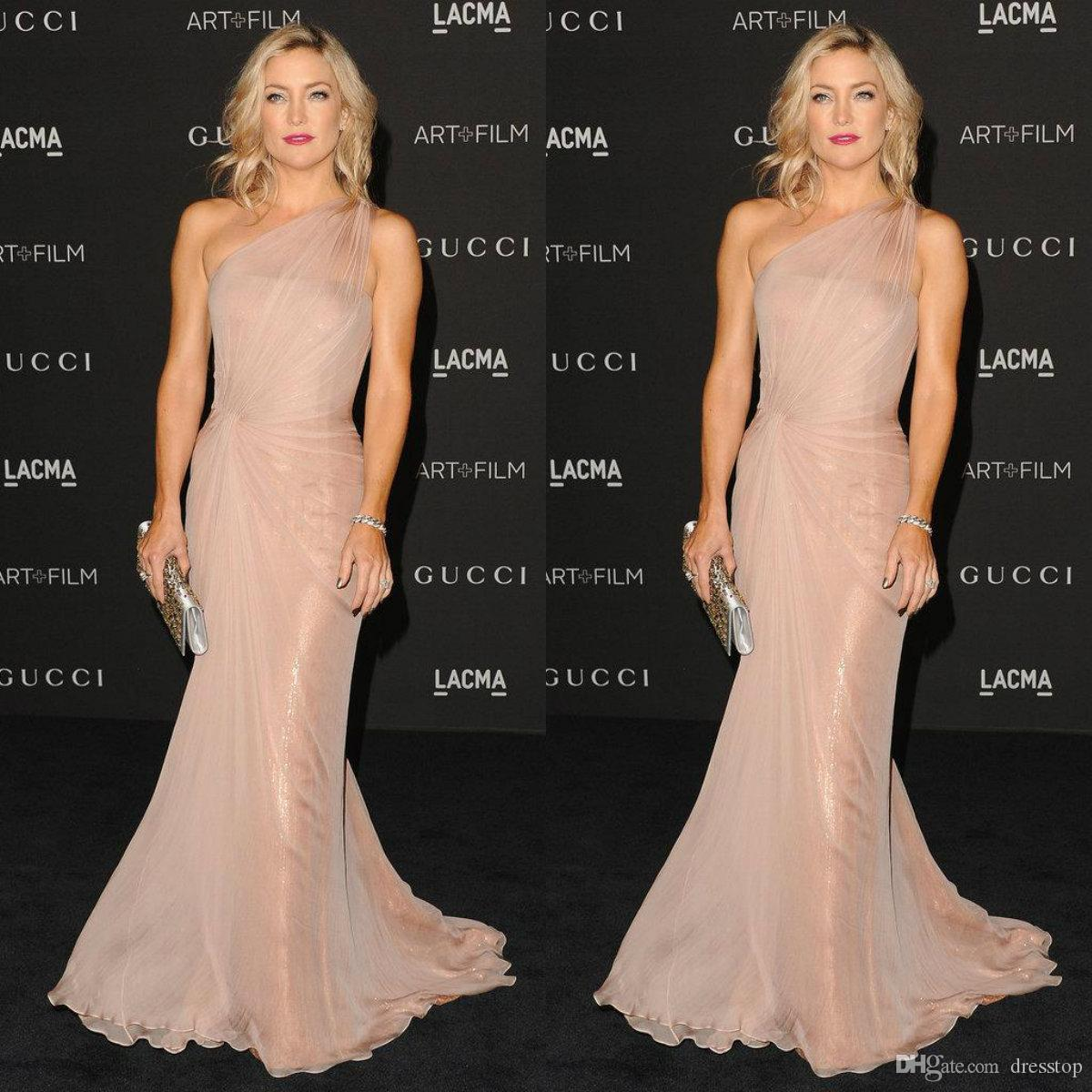Kate Hudson w Syrena Celebrity Sukienki Plds One Shoulder Sweep Pociąg Red Carpet Cekiny Suknie Wieczorowe Prom Dress