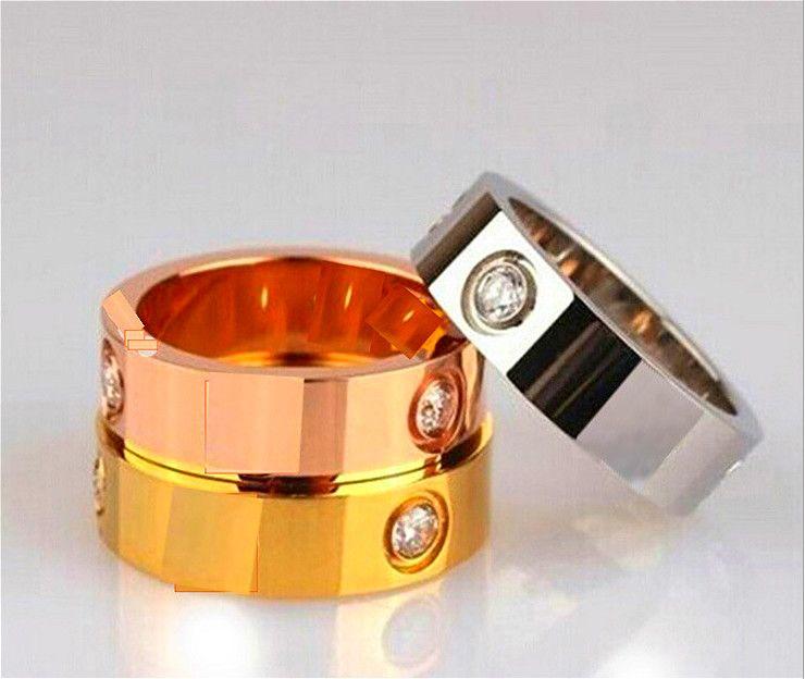 2020 Hot Boutique 316L amor Aço Titanium Silver Rose Amor anel de ouro anel de ouro para os amantes casal anel