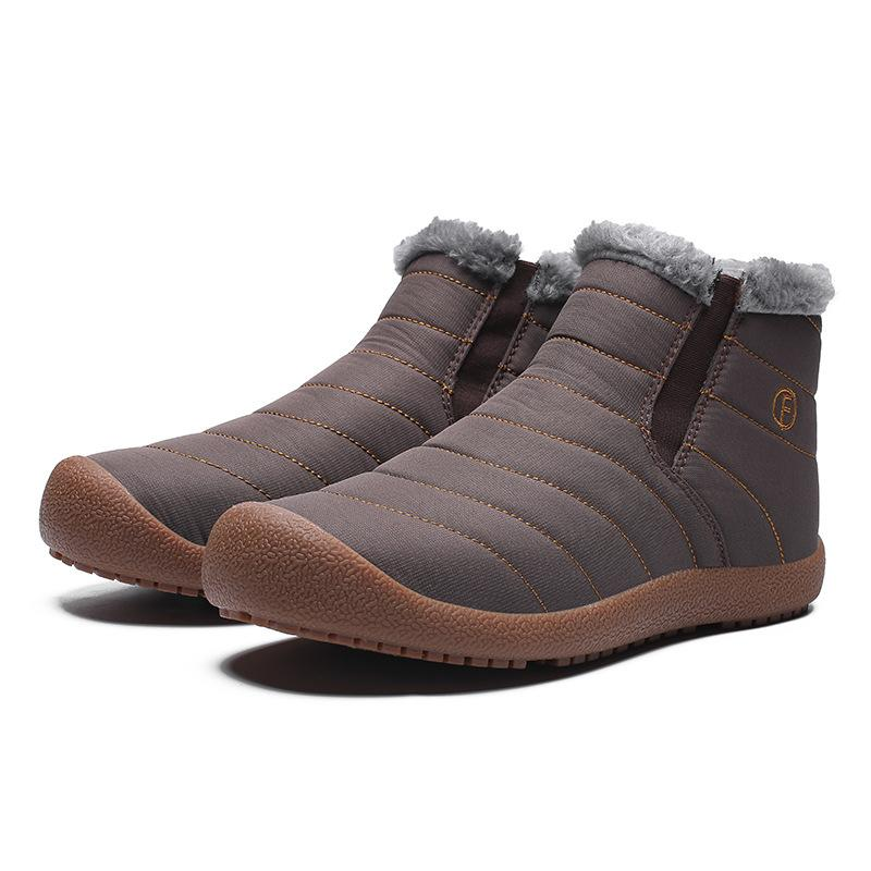 2018 New Men's Fashion Non-slip Thicken Ankle Snow Boots Outdoor waterproof Wear Rubber Soles Warm Shoes Plus Size Eu 38-46 Wholesale Retail