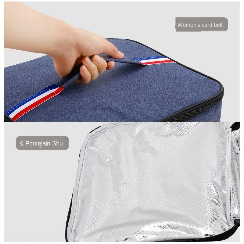 Oxford boîte d'isolation en tissu aluminium déjeuner déjeuner étudiant main feuille rectangulaire main sac de riz sac en tissu Oxford