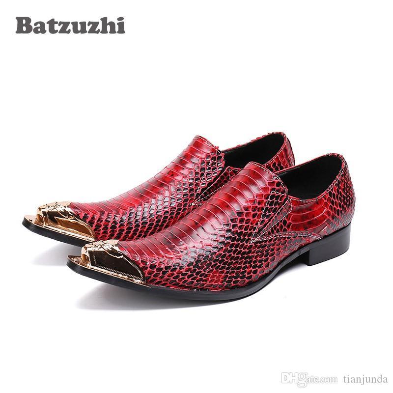 Batzuzhi scarpe uomo di marca in pelle vacchetta scarpe di cuoio genuino uomini puntato cap in metallo punta vino rosso da sposa e partito scarpe uomo, 46