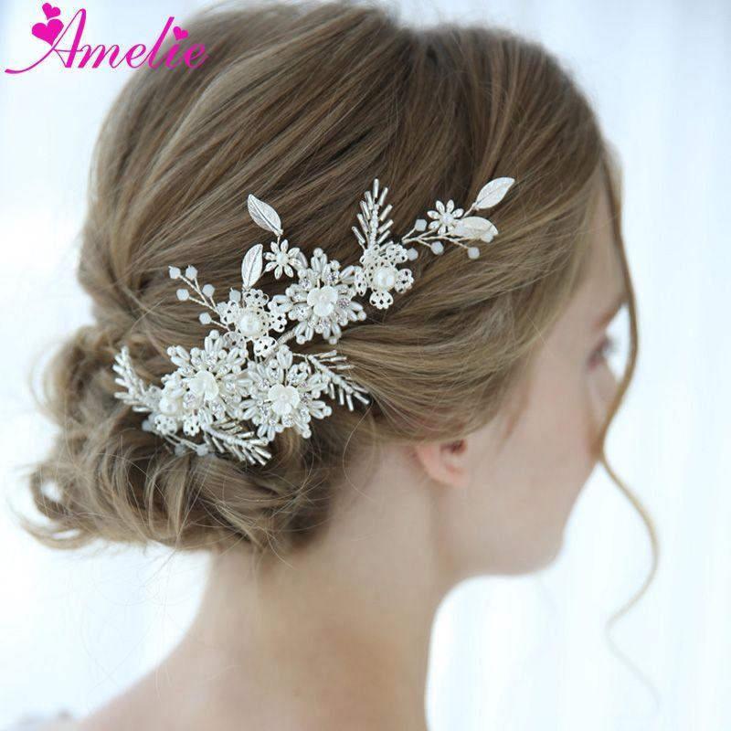 Charming Headpieces Opal Crystal Bridal Barrettes Wedding Pearl Hair Clip Party Series Decoration Silver Women Barrette
