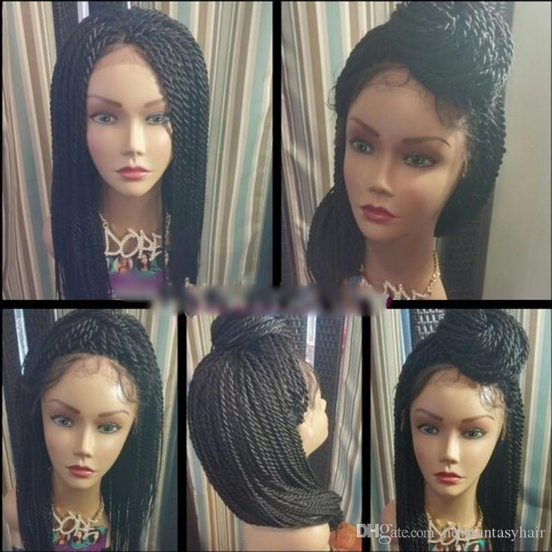 """Natural Black 2X Twist Braids Synthetic Lace Front Wigs with Baby Hair 24""""INCH Heat Resistant Crochet Hair Wig for black women"""
