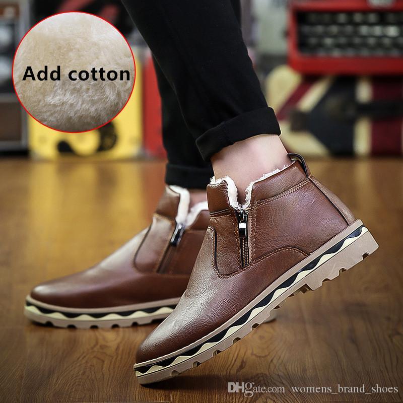 2019 concepteur de la marque de mode nouvelles chaussures en cuir d'hiver des bottes pour hommes occasionnels bottes Martin version coréenne de démarrage étudiant chaud, plus le coton