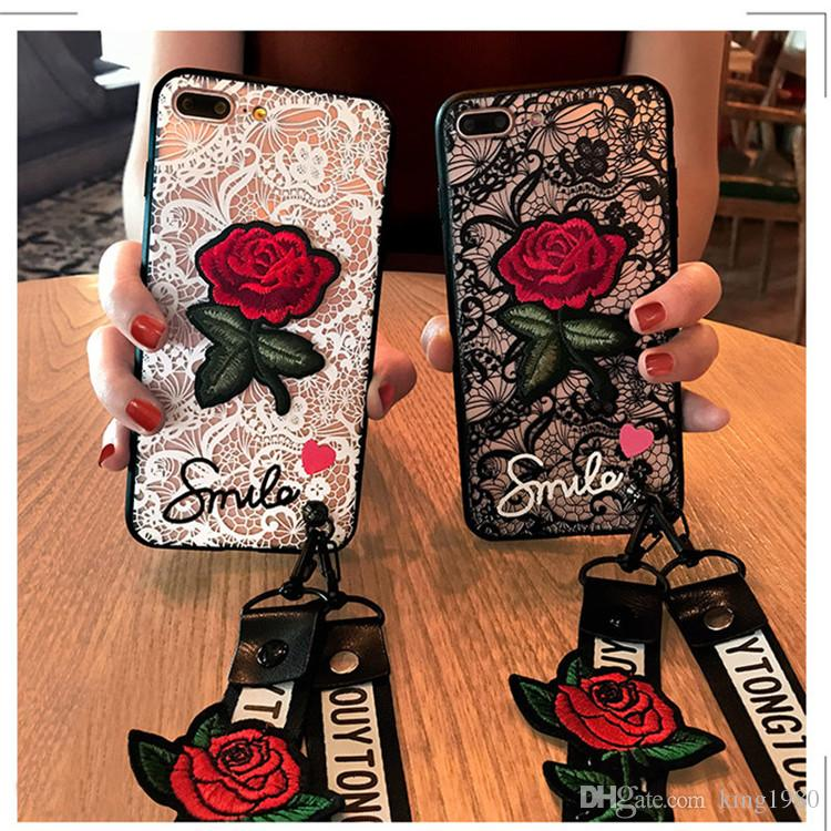 Embroidered Originality Lace Rose Pattern Fully Anti - Falling Soft Shell For iPhone X XS XS MAX,Cover For iPhone 6 7 8/plus