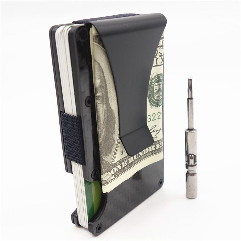 2019 جديد معدن البسيطة ألياف الكربون الرجال id حامل بطاقة الأعمال حالة تتفاعل المحفظة