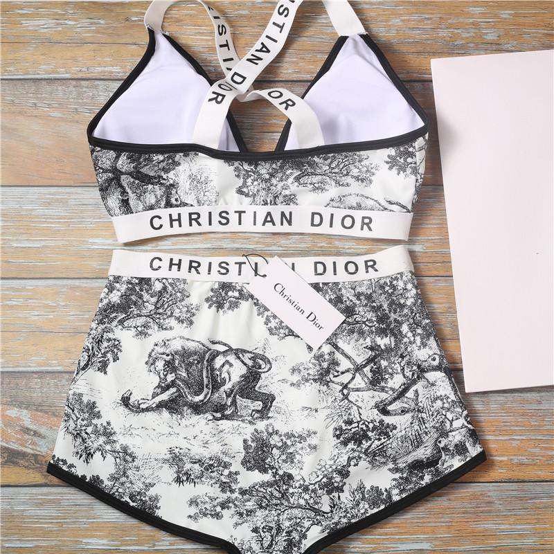 클래식 동물 식물 수영복 패션 편지 비키니 비치 높은 허리 수영복 여성 크로스 슬링 수영복 섹시한 등이없는 비키니