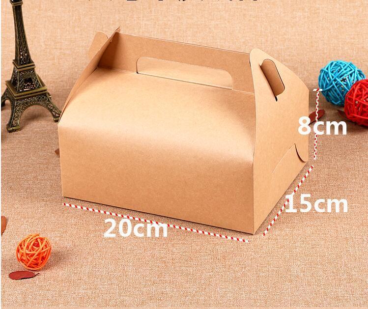 20Pcs Brown Kraft grande regalo della scatola da pasticceria con la maniglia di cartone Cupcake imballaggio presente contratto Scatole 20x15x8cm