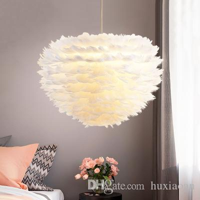 Feather lamp bedroom Nordic lamps and lanterns contracted modern creative living room children lamp warm romantic personality feather chande