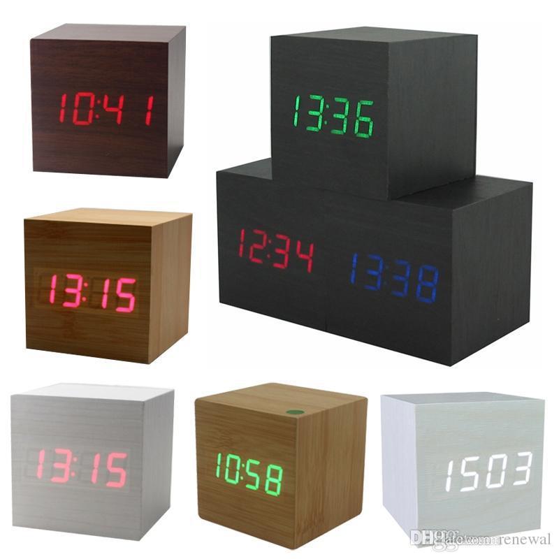 مكعب خشبي LED منبه LED العرض الجدول الالكترونية سطح المكتب ساعات حائط رقمية خشبية المنبه الرقمية USB / التحكم AAA الصوت LED الشاشة