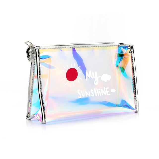 Водонепроницаемый лазерный Transparent Косметические сумки Женщины леди Прекрасные Письмо устроителя хранения Чехол для макияжа Дело туалетных сумка