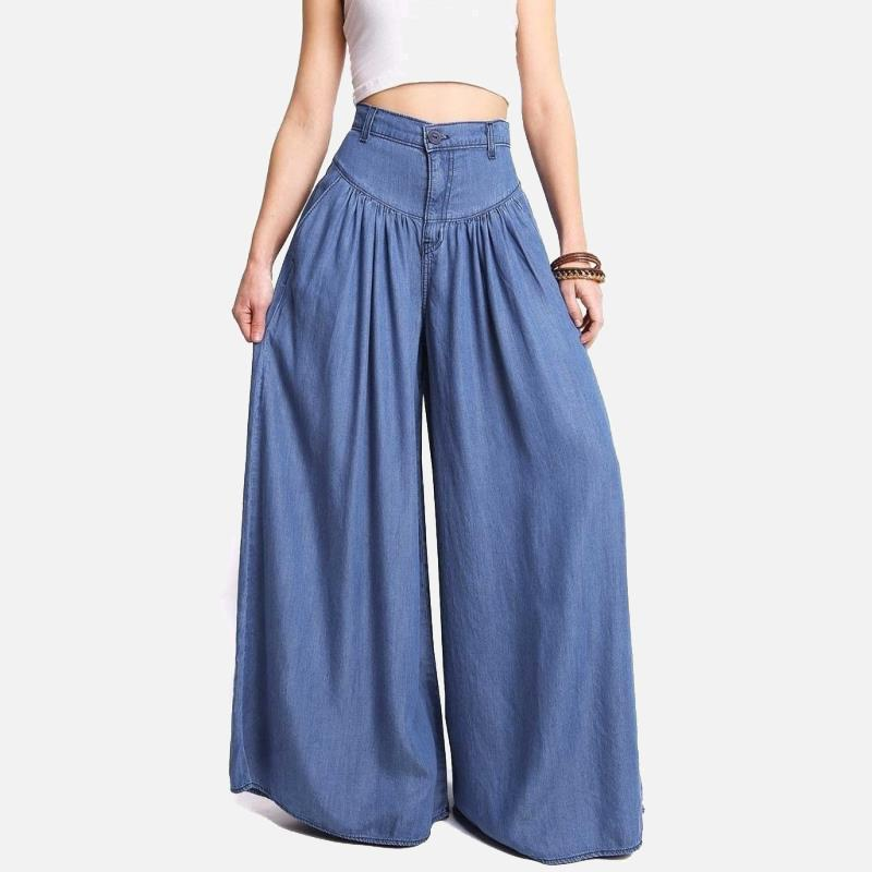 Taille haute fermeture éclair jambe large denim femmes pantalons jeans longueur de plancher occasionnel dames lâches élégantes printemps longs jupe féminine pantalon Y19042901