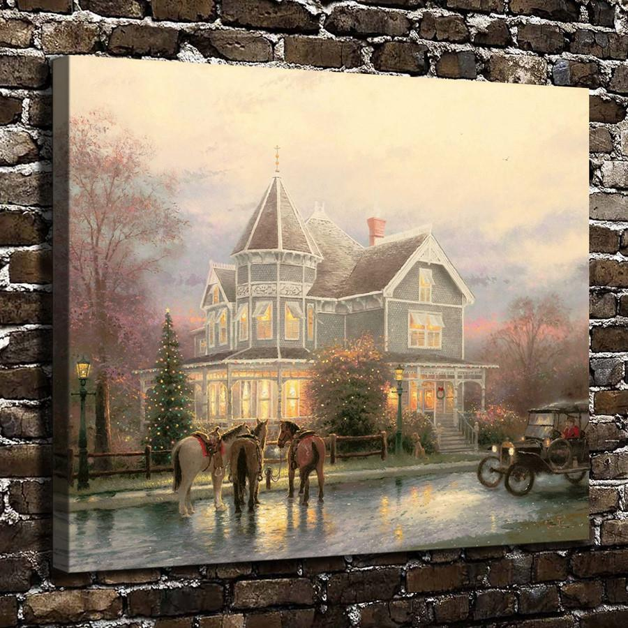 Thomas Kinkade,Christmas Memories Scenery,1 Pieces Canvas Prints Wall Art Oil Painting Home Decor (Unframed/Framed) 20x24.