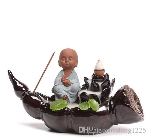 Nuevo estilo Buda reflujo incienso quemador cerámica decoración hogar cono incienso incensario E