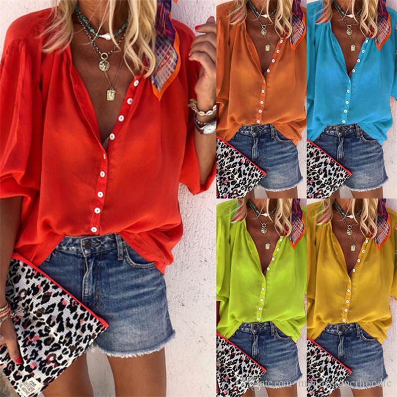 Verano de las mujeres del color sólido camisas sueltas cuello en V Oficina Ropa de Señora diseñador de moda blusas casuales