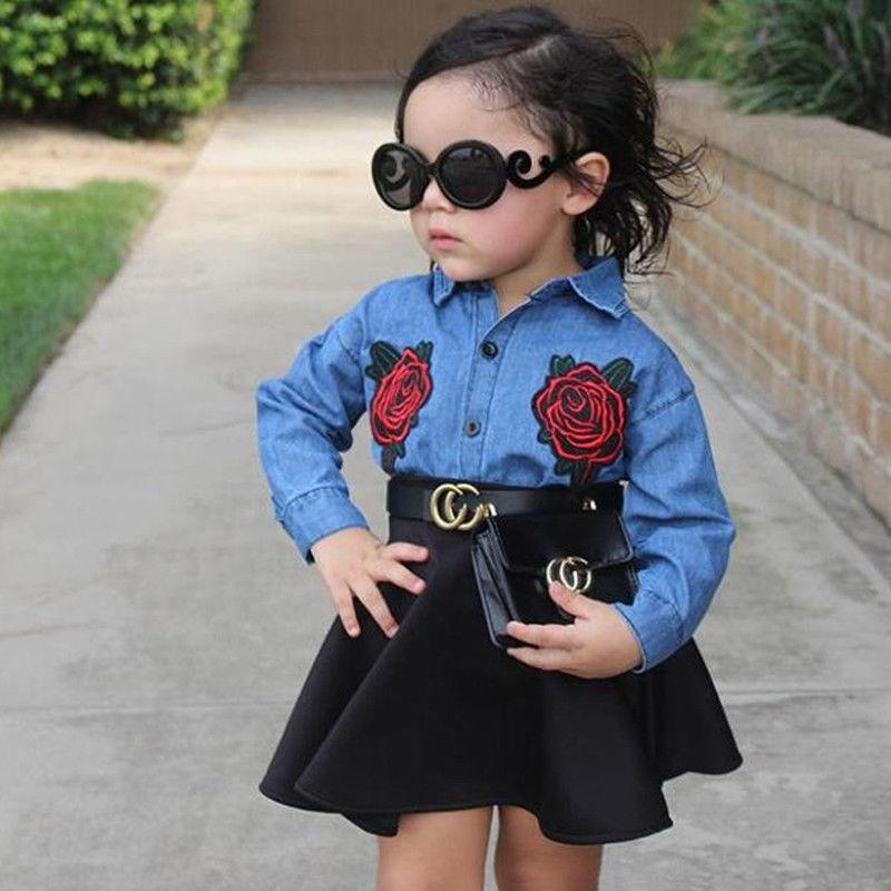 New Denim Shirt Baby Girl Outfits With Button Remake Clothes Embroidered Flowers Tops Black Skirt Boutique Girl Clothing