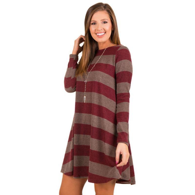 Pop2019 Discount Dresses Women And Women's Dishy Dress Loose Striped Large Swing Long Sleeve Bodycon Dress Vestidos De Fiesta