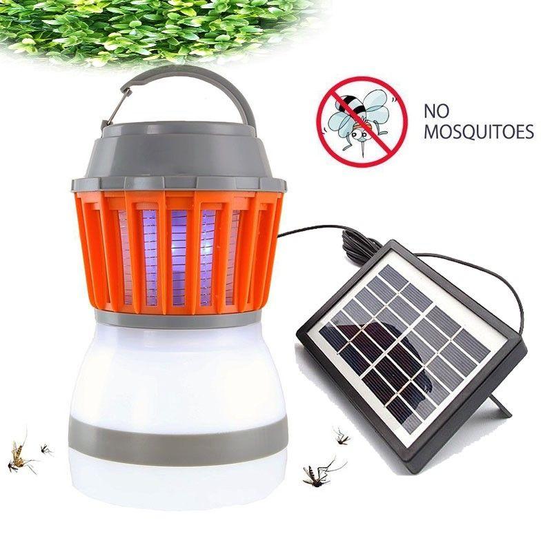 Solar Mosquito Assassino LED Lâmpada Ao Ar Livre Bug Zapper Armadilha Camping Lanterna 2 em 1 Portátil USB Anti mosquito Fly Inset Bather Tent Light