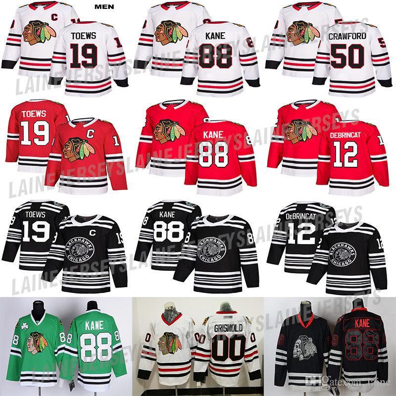 Chicago Blackhawks jersey 88 PATRICK KANE 19 Toews 2 Duncan Keith 12 Alex DeBrincat 50 Corey Crawford 00 Clark Griswold Hockey Jerseys