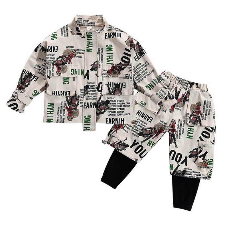 Ins 2020 Nouveau Enfants Survêtement Ensemble Garçons Survêtement de mode de bande dessinée casual Garçons Costumes enfants designer vêtements garçons manteaux veste + Pantalon 2 pcs / ensemble B516