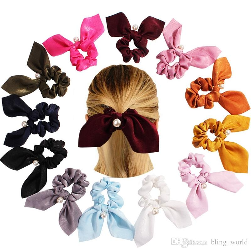Scrunchies Hairbands Pearl Pendant Satin Hair Ties Ropes Rabbit Ear Hair Bands Solid Ponytail Holder Hair Accessories 12 Colors YW3626