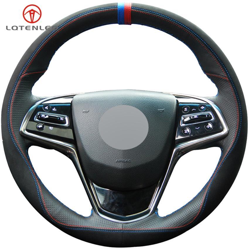Черная замша Черная натуральная кожа крышка рулевого колеса автомобиля для Cadillac ATS ATS-L 2013-2019 CTS 2014-2017 ELR 2014-2018