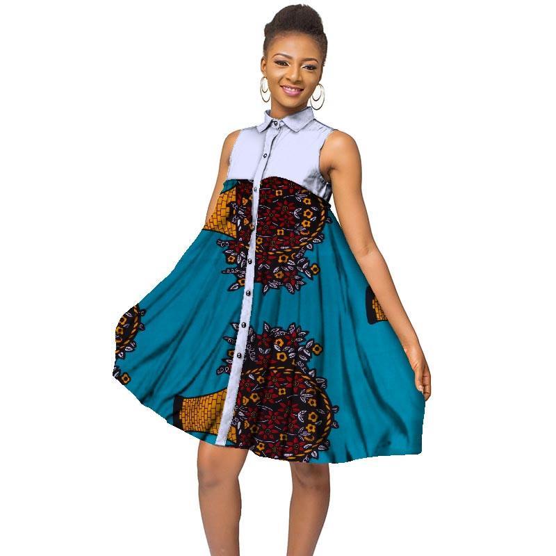 Africano Imprimir Vestidos para As Mulheres Bazin Encantador A Linha Turn-down Collar Botão Camisa Vestido Tradicional Africano Roupas WY3233