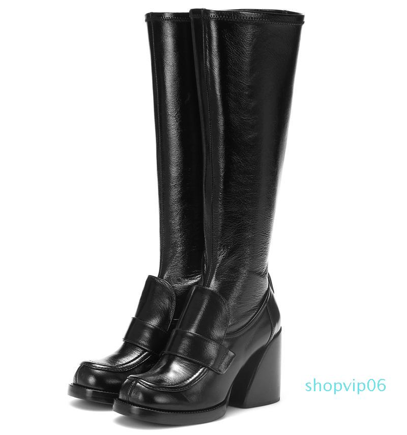 Hot Sale-fashion style punk snake leather knee high boots woman brand red black martin ankle boots autumn winter snow high-heels