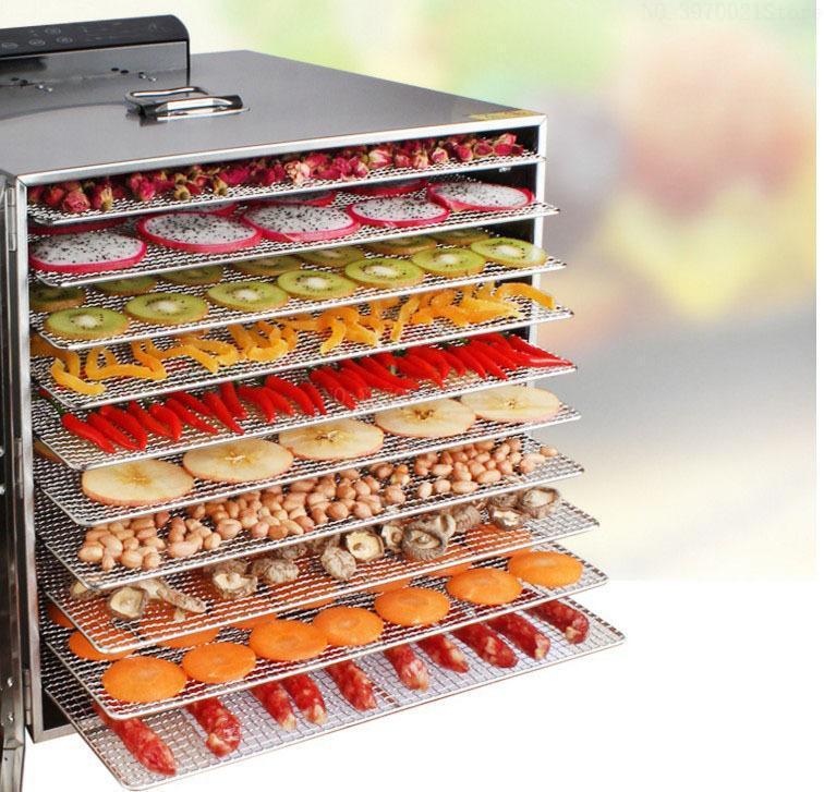 10 طبقة سعة كبيرة مجفف الفاكهة التجارية الفولاذ المقاوم للصدأ آلة تجفيف الخضروات مجففات مجفف الهواء الآمن