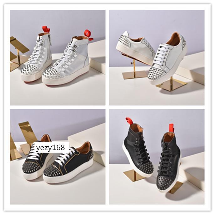 Commercio all'ingrosso nuovo nero Krystal Spike Calzino Donna piatto Mens Red Bottoms Scarpe Donna Rivetto Spiky calzino Junior Spikes piatto Shoes6