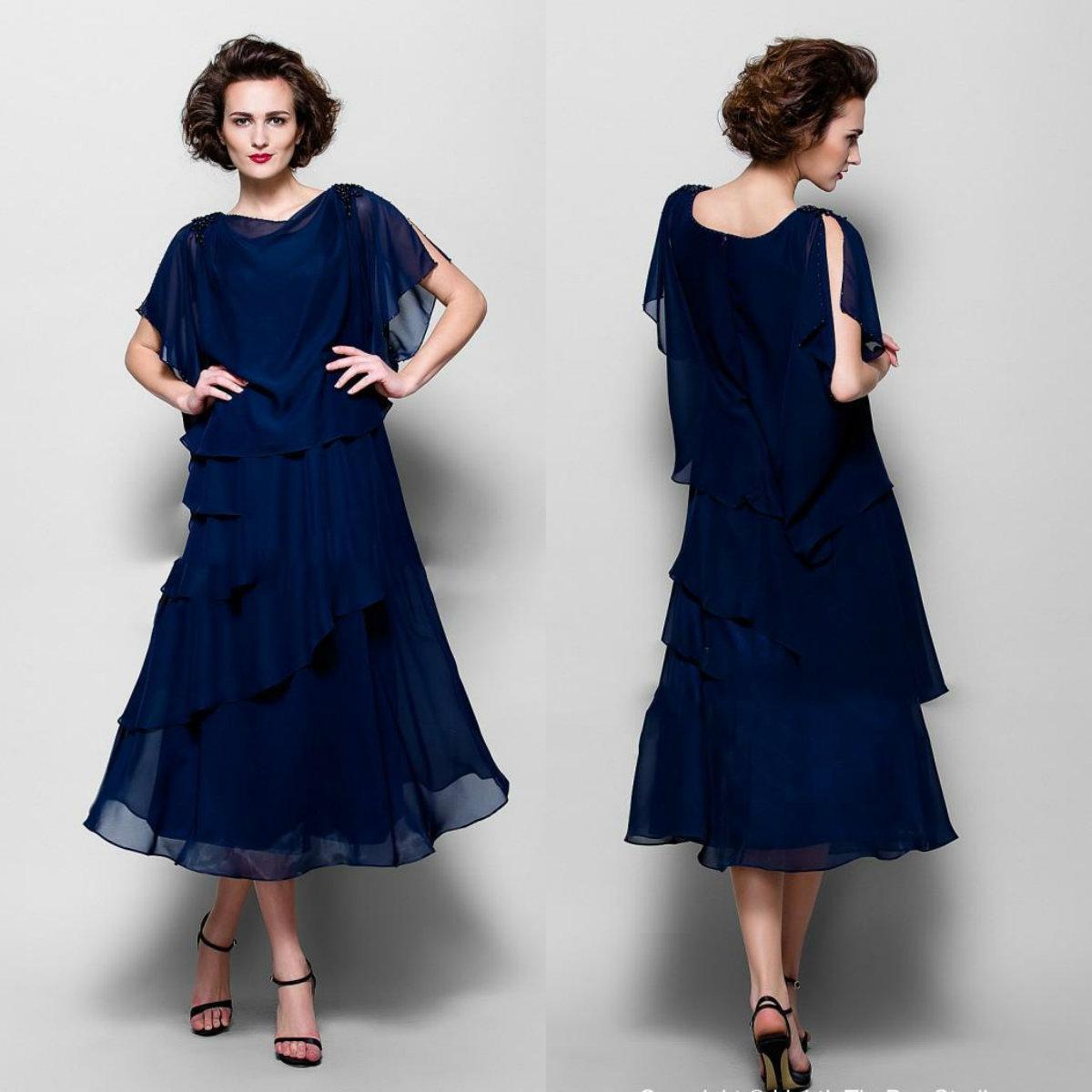 2020 Элегантная мать невесты Платья с короткими рукавами Шифон Вечерние платья Ярусы Длина чая плюс размер линии свадебное платье